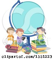 Group Of Children With Books Around A Blank Globe Frame