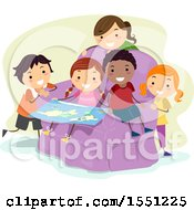 Group Of Children Sitting In A Chair And Studying A Map