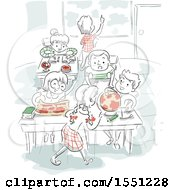 Poster, Art Print Of Sketched Class Room With Children Learning Geography
