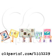 Poster, Art Print Of Hands Of Children Holding Up Geography Books Under Text Space