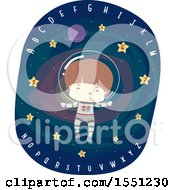 Boy Astronaut Floating In Outer Space With Stars And Alphabet Letters