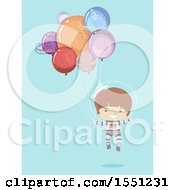Boy Astronaut Floating With Planet Balloons On Blue