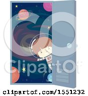 Clipart Of A Boy Astronaut At An Open Door Leading To Outer Space Royalty Free Vector Illustration