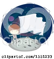 Boy Astronaut Holding A Flag On The Moon