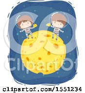Clipart Of Boy Astronauts Eating On Top Of A Cheese Moon Royalty Free Vector Illustration
