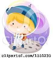 Clipart Of A Boy Astronaut Going To School Royalty Free Vector Illustration by BNP Design Studio
