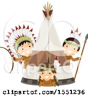 Clipart Of A Group Of Native American Indian Children At A Tipi Royalty Free Vector Illustration