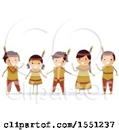 Clipart Of A Group Of Native American Indian Children Waving Royalty Free Vector Illustration by BNP Design Studio
