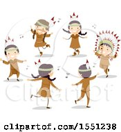Clipart Of A Group Of Native American Indian Children Dancing Royalty Free Vector Illustration by BNP Design Studio
