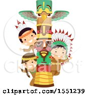 Clipart Of A Group Of Native American Indian Children With A Totem Pole Royalty Free Vector Illustration