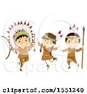 Group Of Native American Indian Children With Hunting Gear