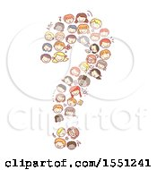 Clipart Of A Group Of Children Forming A Question Mark Royalty Free Vector Illustration by BNP Design Studio