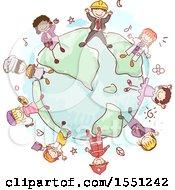 Group Of Children Wearing Uniforms Around A Globe