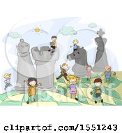 Clipart Of A Group Of Children On A Giant Chess Board Royalty Free Vector Illustration