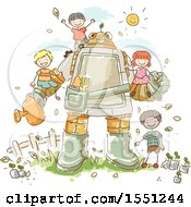 Group Of Children Gardening With A Robot