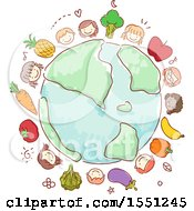 Clipart Of A Group Of Children And Produce Around A Globe Royalty Free Vector Illustration