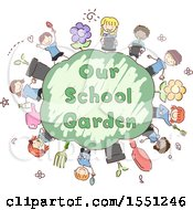 Group Of Children Around A Globe With Our School Garden Text