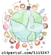 Group Of Children With Gardening Tools Around A Globe
