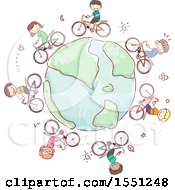 Clipart Of A Group Of Children Riding Bicycles Around A Globe Royalty Free Vector Illustration