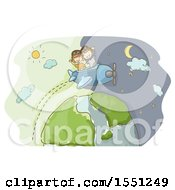 Clipart Of A Sketched Boy And Girl Flying A Plane Over Earth And Day And Night Royalty Free Vector Illustration