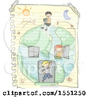 Group Of Children With A Earth House On Paper