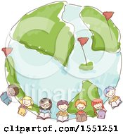 Sketched Group Of School Kids Holding Books Around Earth