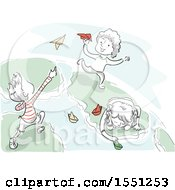 Sketched Children Playing With Paper Planes And Boats On Earth