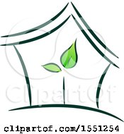 Clipart Of A House With Green Leaves Inside Royalty Free Vector Illustration