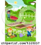 Clipart Of A Group Of Children In A Garden Royalty Free Vector Illustration