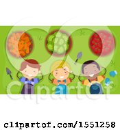 Clipart Of A Group Of Children Napping After Harvesting A Garden Royalty Free Vector Illustration