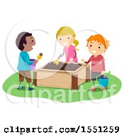 Clipart Of A Group Of Children Playing In A Mud Box Royalty Free Vector Illustration