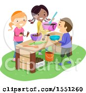 Clipart Of A Group Of Children Playing With Mud Royalty Free Vector Illustration
