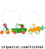 Group Of Children With Vegetable Cars And A Bike