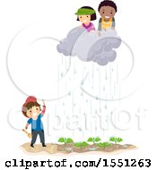 Clipart Of A Group Of Children Moving A Rain Cloud Over A Garden Royalty Free Vector Illustration
