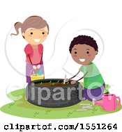 Clipart Of A Boy And Girl Gardening In An Upcycled Tire Royalty Free Vector Illustration