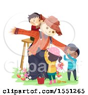 Clipart Of A Group Of Children Putting Up A Scarecrow Royalty Free Vector Illustration