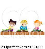 Clipart Of A Group Of Children Placing Plant Markers A Garden Royalty Free Vector Illustration