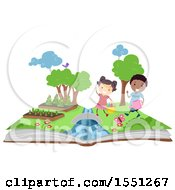 Clipart Of A Boy And Girl Gardening On An Open Book Royalty Free Vector Illustration
