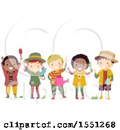 Clipart Of A Group Of Children In Gardening Gear Royalty Free Vector Illustration