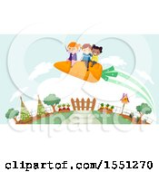 Clipart Of A Group Of Children Flying On A Carrot Over A Garden Royalty Free Vector Illustration
