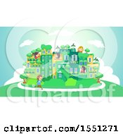 Poster, Art Print Of Group Of Children In A Green City