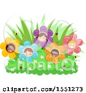 Poster, Art Print Of Group Of Children As Flowers In A Garden