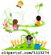 Clipart Of A Group Of Children With A Giant Open Book On A Vine Royalty Free Vector Illustration