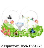 Clipart Of A Bird Bath In A Garden With Hummingbirds And Butterflies Royalty Free Vector Illustration