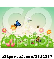 Clipart Of A Flower Garden Full Of Insects Royalty Free Vector Illustration