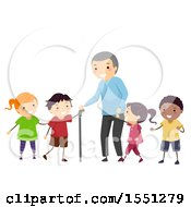 Clipart Of A Group Of Children Walking With A Senior Man Royalty Free Vector Illustration