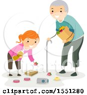 Clipart Of A Good Samaritan Girl Helping A Senior Man With His Fallen Groceries Royalty Free Vector Illustration