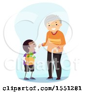 Clipart Of A Good Samaritan Boy Helping A Senior Man With His Groceries Royalty Free Vector Illustration