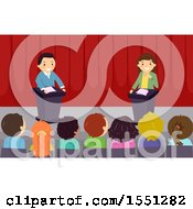 Clipart Of A Group Of Children Watching A Debate Royalty Free Vector Illustration