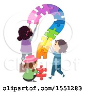 Poster, Art Print Of Group Of Children Assembling A Colorful Puzzle Question Mark